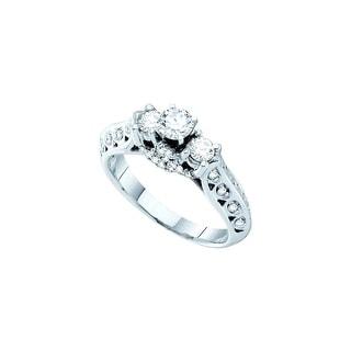 14k White Gold Round Natural Diamond 3- Stone Womens Bridal Wedding Engagement Ring 3/4 Cttw