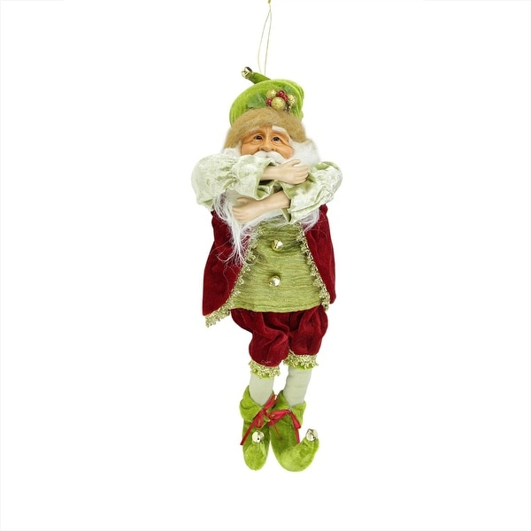 "18"" Enchanted Red and Green Poseable Whimsical Christmas Elf Figure"