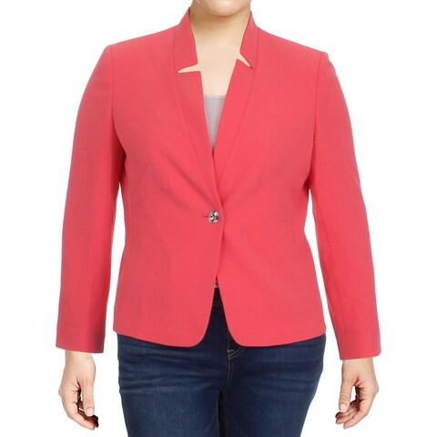 Tahari ASL Womens Petites One-Button Blazer Textured Long Sleeves - 16p