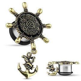 Ship Wheel with Anchor Dangle Single Flare Plug (Sold Individually)