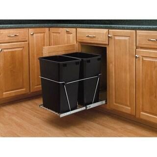 Rev-A-Shelf RV-18KD-18C S RV Series Bottom Mount Double Bin Trash Can with Full Extension Slides - 35 Quart Capacity per Bin