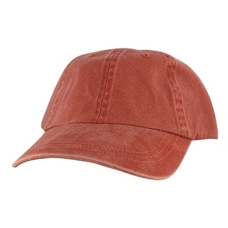 Style Plain Washed Unstructured Vintage Strapback Hat Dad Cap - Washed Orange