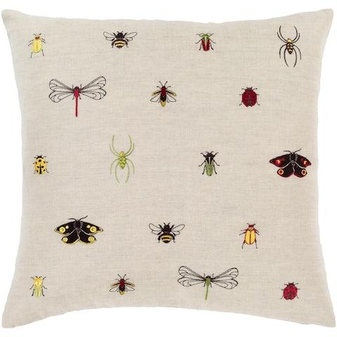 Porch & Den Vicki Linen Blend Bug Embroidered 18-inch Throw Pillow