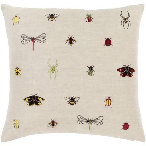 Porch & Den Vicki Linen Blend Bug Embroidered 22-inch Throw Pillow