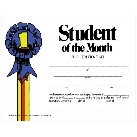 Student of The Month 30Pk Certificate