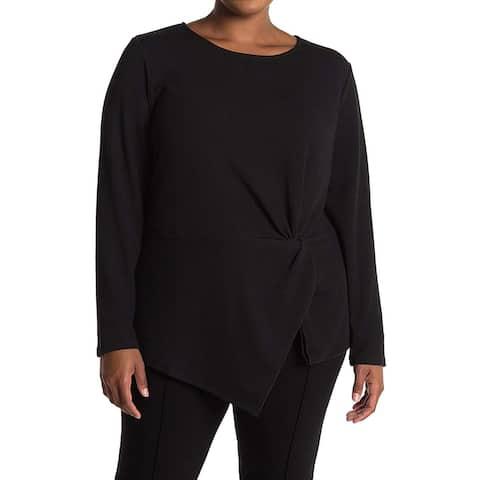 Rachel Roy Women's Knot Front Long Sleeve Jewel Neck Top, Black, XXL