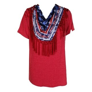 Style Co Plus Size Red Blue Fringed-Scarf T-Shirt 2X
