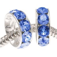 Swarovski Elements Crystal, 77512 BeCharmed Rondelle 4.5mm Large Hole Beads 12mm, 2 Pcs, Sapphire