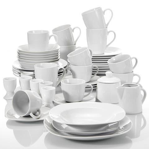MALACASA Elisa White Porcelain 50-piece Dinnerware Set (Service for 6)