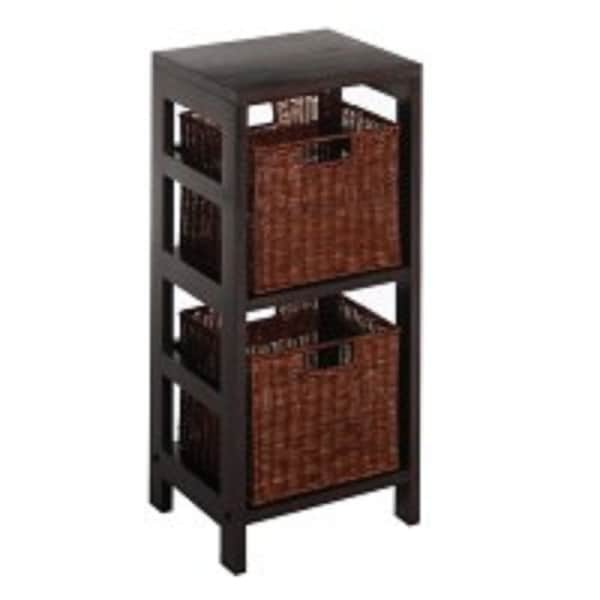 "Set of 3 Black and Brown Standing Shelf with Two Basket – 29"" - N/A"