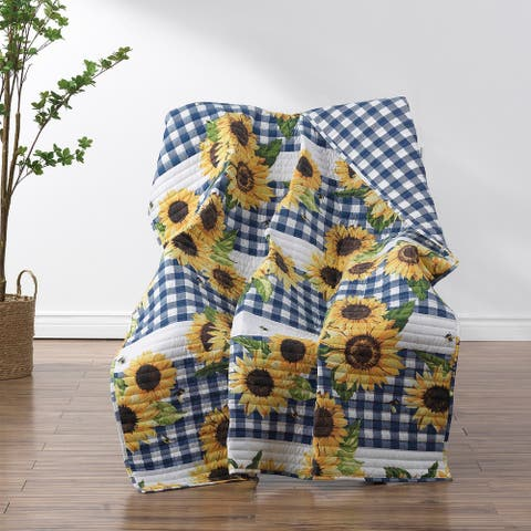 Barefoot Bungalow Sunflower Quilted Reversible Throw Blanket
