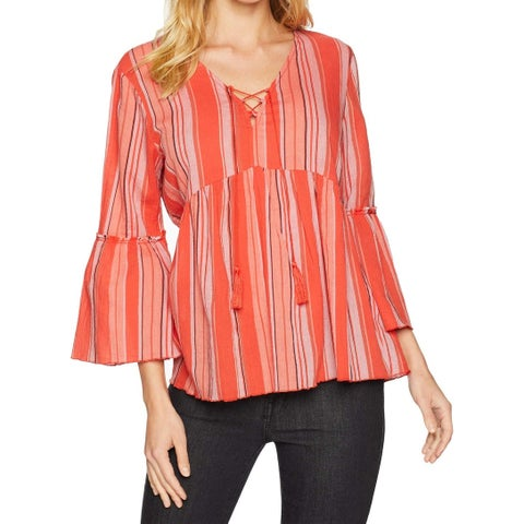 Sanctuary Red Multi Womens Size XS Striped Bell Sleeve Blouse