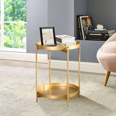 ADECO Side Table 2-Tier Metal Round End Table with Removable Tray