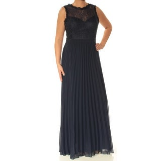Womens Navy Sleeveless Full-Length Sheath Evening Dress Size: 14