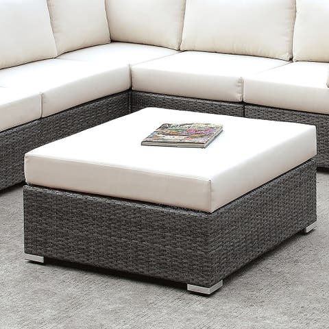 Furniture of America Pyle Contemporary Gray Wicker Large Ottoman