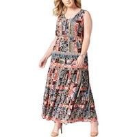 NY Collection Womens Plus Maxi Dress Printed Full-Length