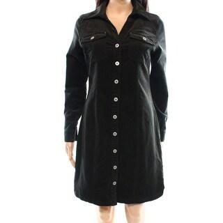 INC NEW Olive Green Women's Size 12 Corduroy Long Sleeve Shirt Dress