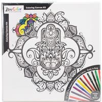 """Adult Coloring Canvas 12""""X12"""" W/12 Markers-Hamsa"""