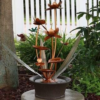 Sunnydaze Copper Flower Blossoms Outdoor Garden Water Fountain 28 Inch Tall