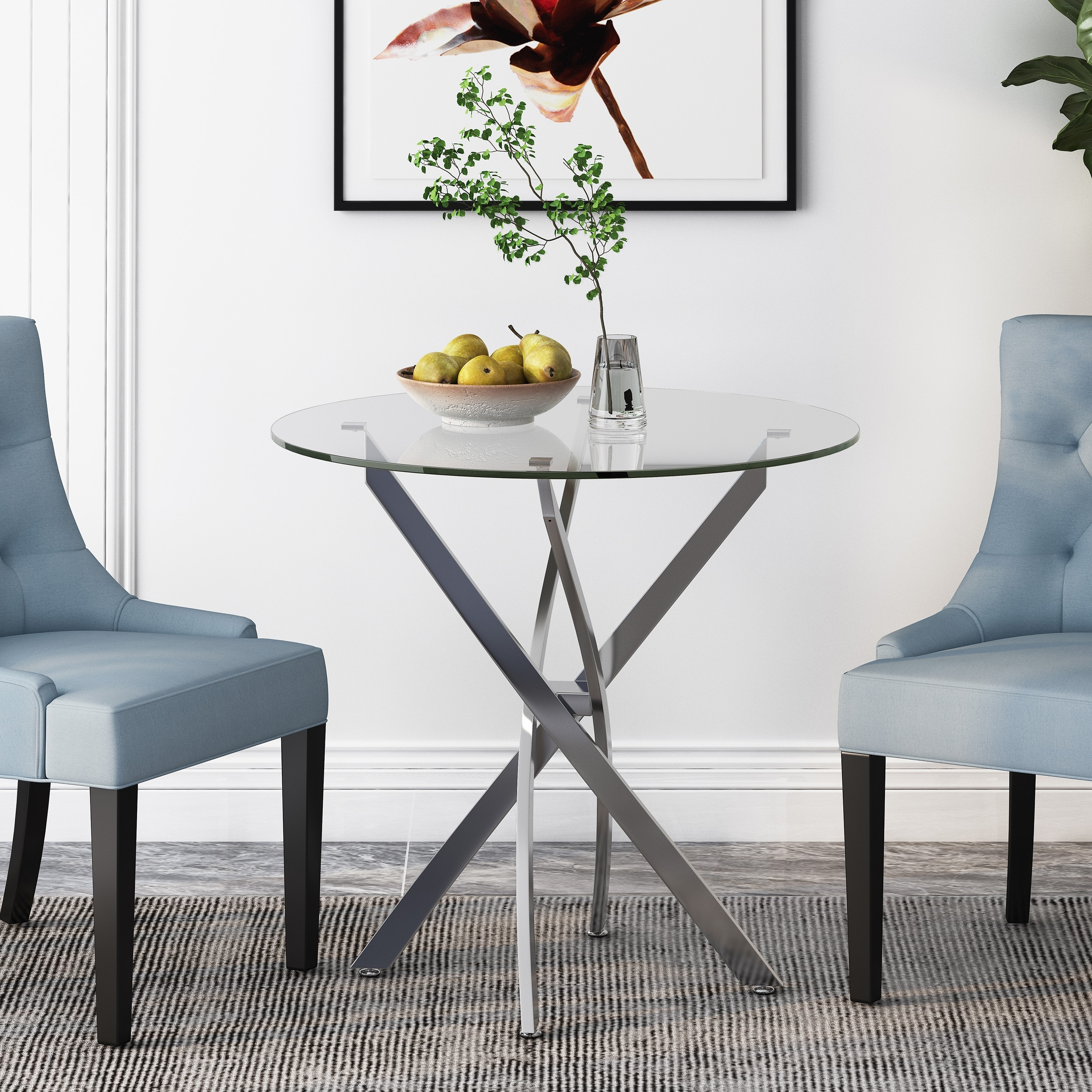 Kiara Contemporary Stainless Steel Bistro Dining Table With Tempered Glass Top By Christopher Knight Home Clear Overstock 22796457