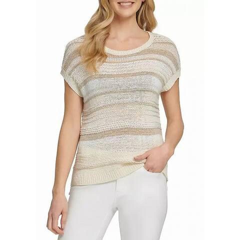 DKNY Women's Sweater Beige Size XL Pullover Knittede Striped Scoop Neck