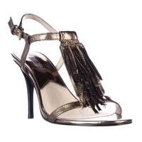 MICHAEL Michael Kors Vienna Chain Fringe T-Strap Sandals, Bronze - 6.5 us