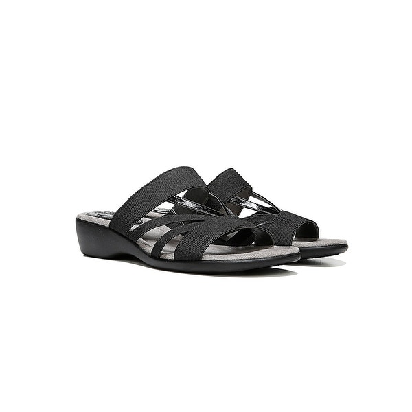 LifeStride Womens TANNER Open Toe Casual Slide Sandals, Black 1, Size 7.0