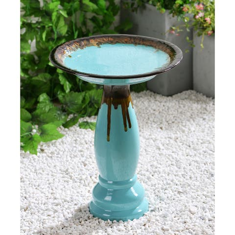 "Rumi 22 Inch Height Ceramic Glazed Birdbath - 17"" Dia. x 21""H"