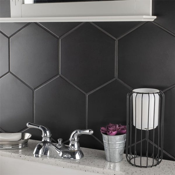SomerTile 8.625x9.875-inch Textilis Black Hex Porcelain Floor and Wall Tile. Opens flyout.