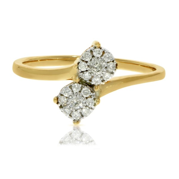 Prism Jewel 0.19Ct Natural Diamond Two-Tone Bypass Cluster Ring