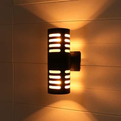 Black 2-light Die-cast Aluminum Outdoor Wall Sconce