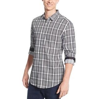 Alfani Black Label Regular Fit Long Sleeve Plaid Shirt Black and White Large L