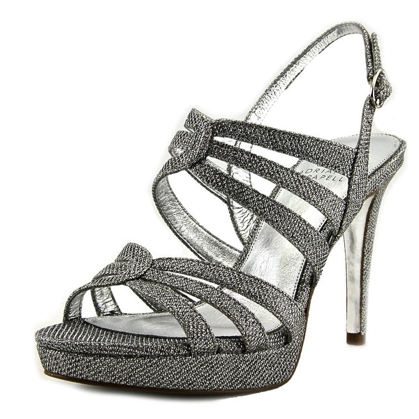 Adrianna Papell Anita Women Open Toe Synthetic Silver Platform Heel