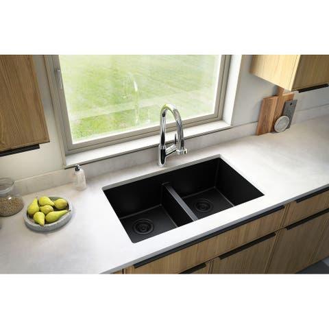 "Karran Undermount Double Equal Bowl Quartz Kitchen Sink - 32"" x 19.5"" x 9"" - 32"" x 19.5"" x 9"""