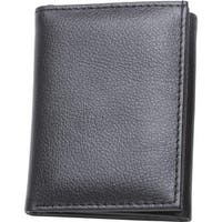 Embassy Men's Solid Genuine Buffalo Leather Tri-Fold Wallet