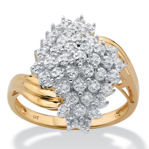 Yellow Gold over Sterling Silver Round Genuine Diamond Cluster Bypass Ring (1/8 cttw) (HI Color, I3 Clarity)