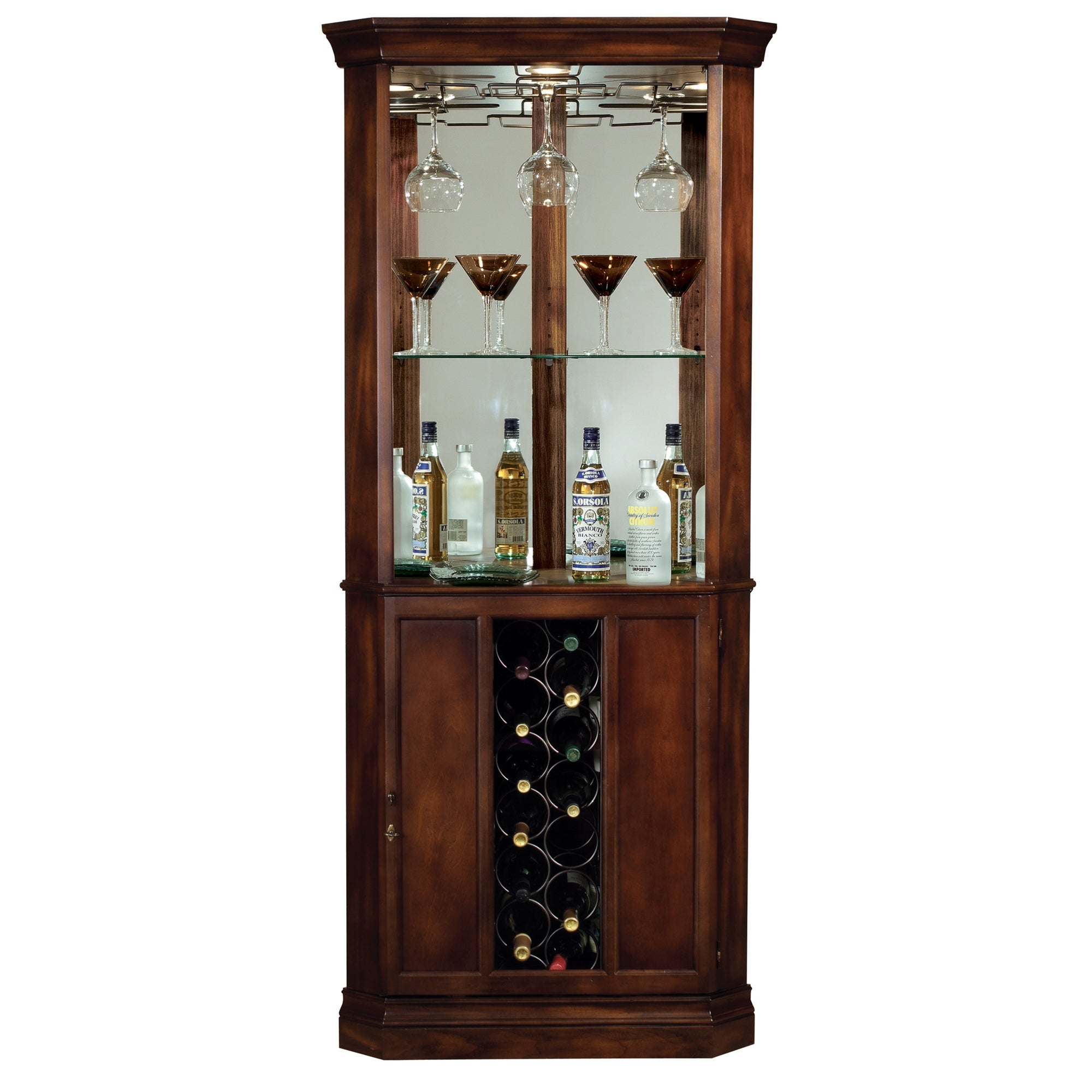 Howard Miller Piedmont Solid Wood Corner Liquor Or Wine Cabinet 76 In High X 32 5 In Wide X 19 In Deep Overstock 23439257