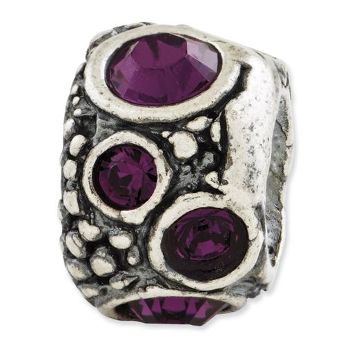 Italian Sterling Silver Reflections Purple Swarovski Elements Bead