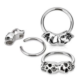 Twin Skull 316L Surgical Steel Captive Bead Ring (Sold Ind.)