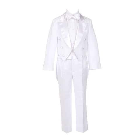 Sweet Kids Boys White Tails Coat Shirt Bow Tie Pants Tuxedo Suit 8-20