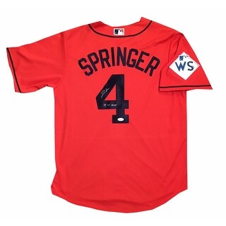 George Springer Autographed Houston Astros 2017 World Series MVP Signed Baseball Orange Jersey JSA