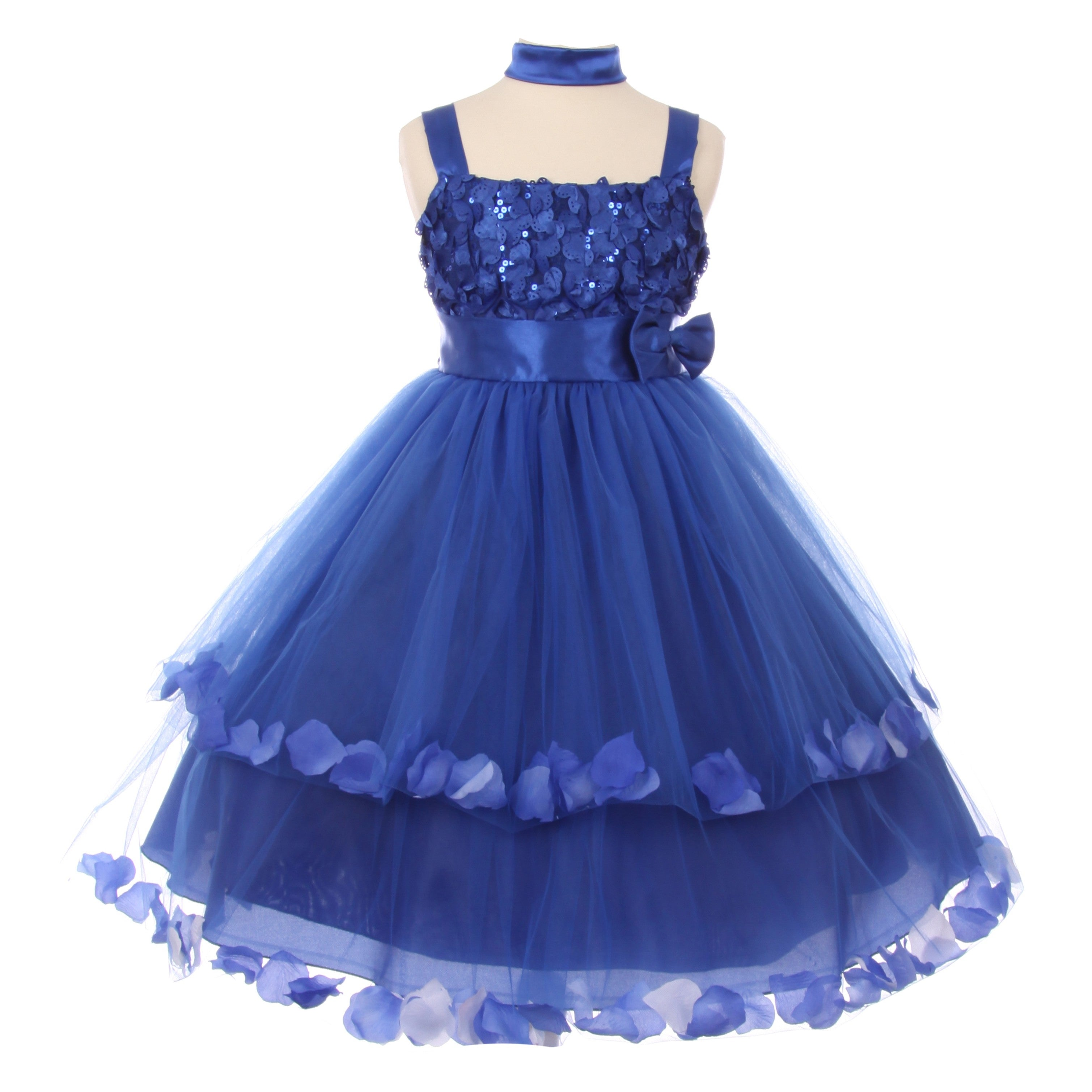 bfaa94e8fc Shop Little Girls Royal Blue Sequin Floating Petals Flower Girl Occasion  Dress - Free Shipping Today - Overstock - 18163100
