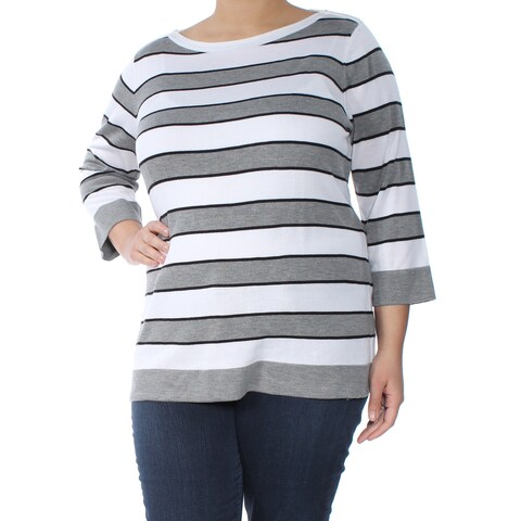 TOMMY HILFIGER Womens Gray Striped Long Sleeve Boat Neck Sweater Size: XXL