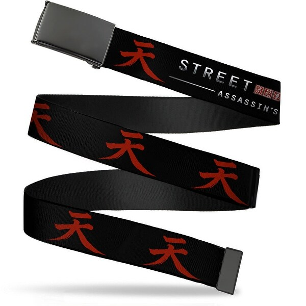 Blank Black Buckle Street Fighter Assassin's Fist Akuma Symbol Black Web Belt