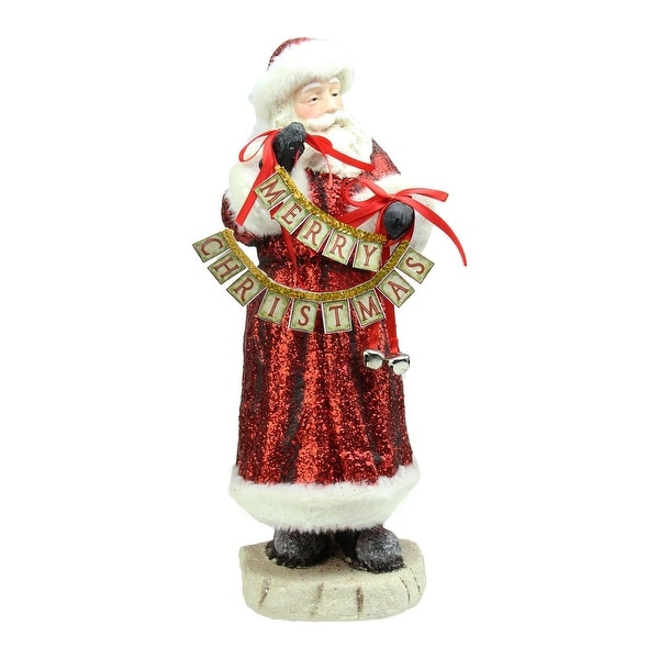 """17"""" Red Glittered Santa Claus Holding """"Merry Christmas"""" Sign with Bells Christmas Figurine"""
