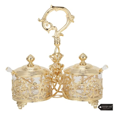 Matashi 24K Gold Plated Crystal Studded Two Cup Candy Dish / Salt Holder