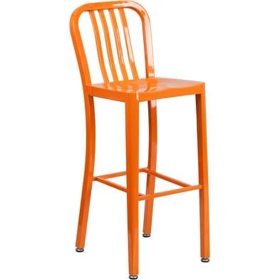 Collins 30'' High Orange Metal Indoor/Outdoor/Patio/Bar Barstool w/Vertical Slat Back