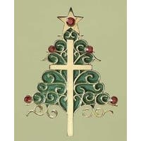 "3.5"" Holiday Traditions Inspirational Christmas Tree and Cross Ornament"