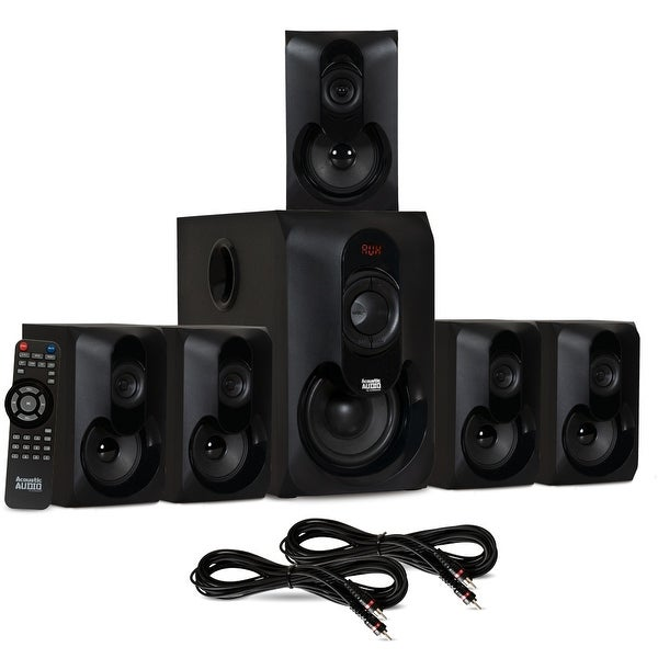 Acoustic Audio AA5301 Bluetooth Powered 5.1 Speaker System Home & 2 Ext. Cables