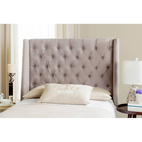 Safavieh London Taupe Linen Upholstered Tufted Wingback Headboard (Twin)
